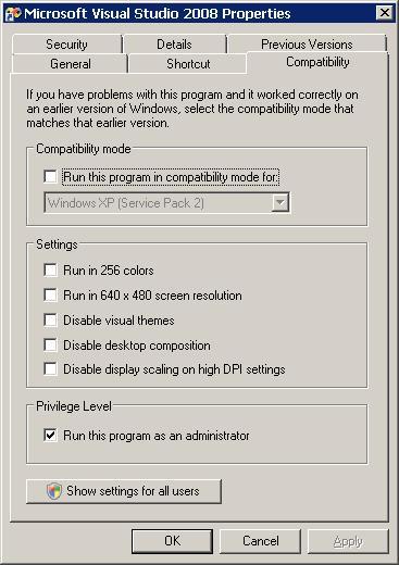 شكل 2 - إعدادات التوافقية Compatibility Options