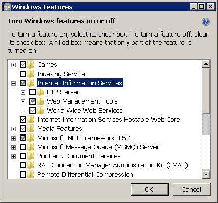 شكل 1 - تنصيب IIS في ويندوز فيستا وويندوز 7